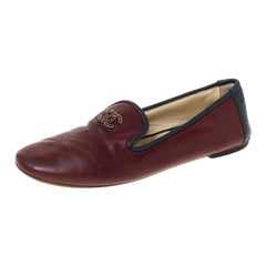 Chanel Burgundy Leather CC Slip On Loafers Size 36