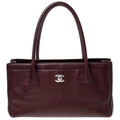 Chanel Burgundy Leather Cerf Shopping Tote