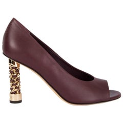 CHANEL burgundy leather CHAIN HEEL PEEP-TOE Pumps Shoes 38.5