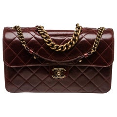 Chanel Burgundy Leather Large Perfect Edge Flap Bag