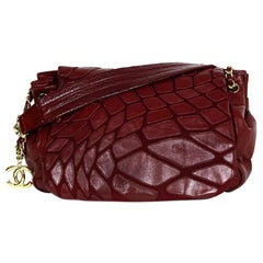 Chanel Burgundy Leather Patchwork Scales Accordion Flap Bag