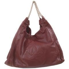 Chanel Burgundy leather silver hardware shoulder bag