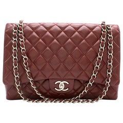 Chanel Burgundy Maxi Classic Flap Bag 33cm