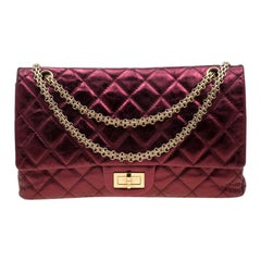 Chanel Burgundy Metallic Quilted Leather Reissue 2.55 Classic 227 Flap Bag