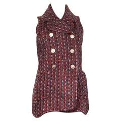 CHANEL burgundy mohair & wool Tweed High-Low Vest Jacket 36 XS