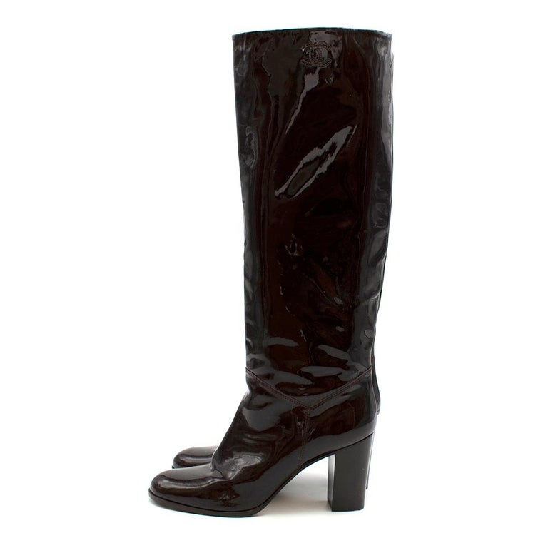 Black Chanel Burgundy Patent Leather Boots 41 For Sale