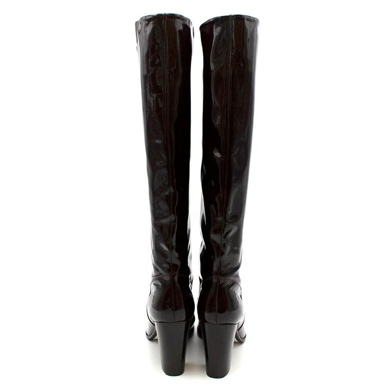Chanel Burgundy Patent Leather Boots 41 In Excellent Condition For Sale In London, GB