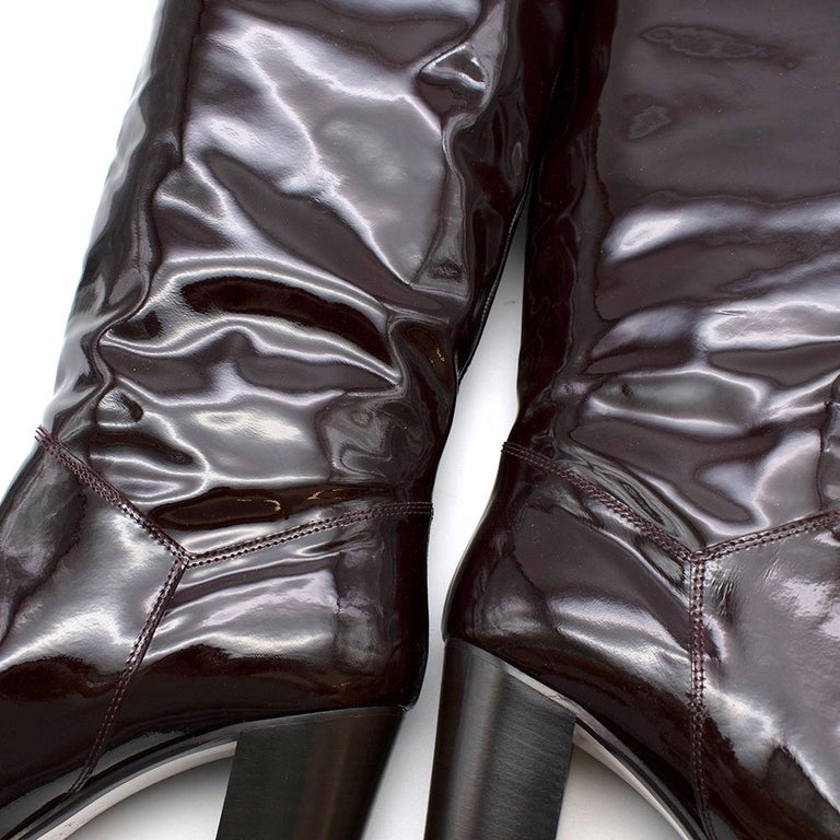 Chanel Burgundy Patent Leather Boots 41 For Sale 2