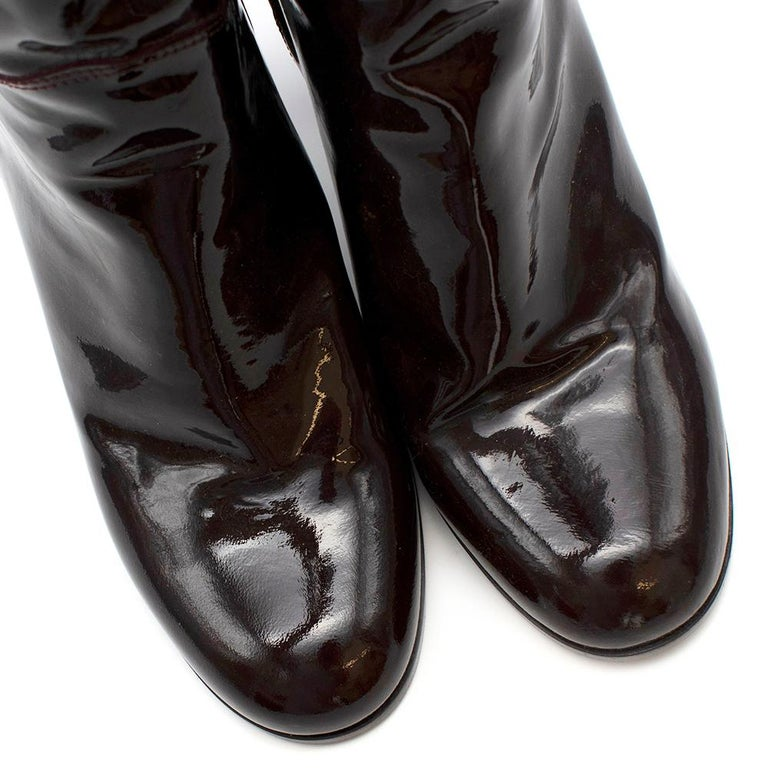 Chanel Burgundy Patent Leather Boots 41 For Sale 3