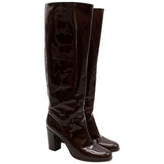 Chanel Burgundy Patent Leather Boots 41