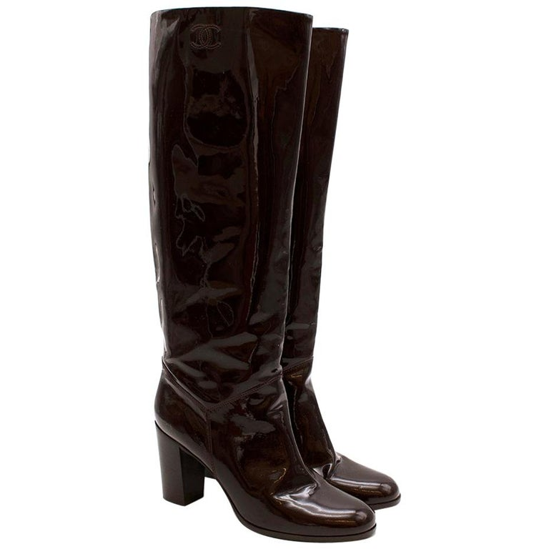 Chanel Burgundy Patent Leather Boots 41 For Sale