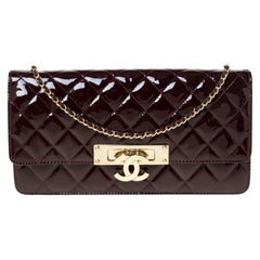 Chanel Burgundy Patent Leather Golden Class Double CC WOC Clutch Bag