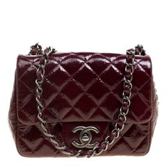 Chanel Burgundy Patent Textured Leather New Mini Classic Single Flap Bag