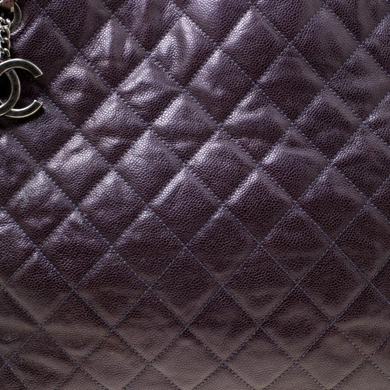 Chanel Burgundy Quilted Caviar Leather Tote For Sale 7