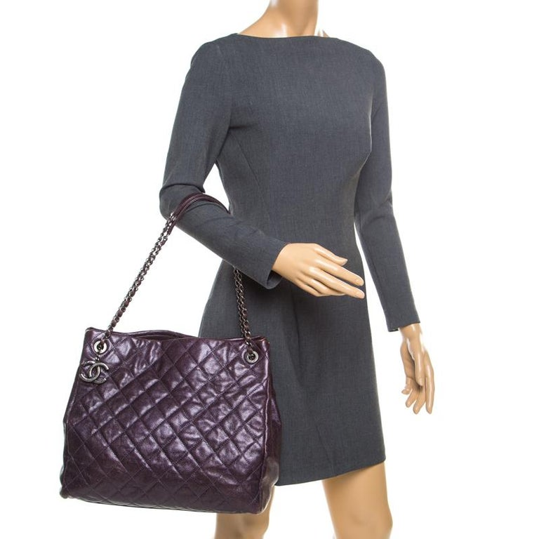 Black Chanel Burgundy Quilted Caviar Leather Tote For Sale