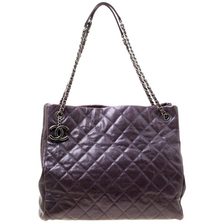 Chanel Burgundy Quilted Caviar Leather Tote For Sale