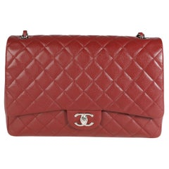 Chanel Burgundy Quilted Caviar Maxi Classic Double Flap Bag