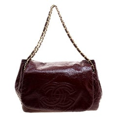 Chanel Burgundy Quilted Detail Patent Leather Timeless Accordion Flap Bag