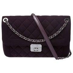 Chanel Burgundy Quilted Jersey Flap Shoulder Bag