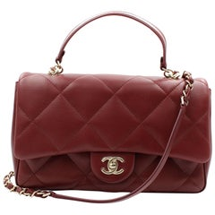 Chanel Burgundy Quilted Lambskin Gold Tone Metal Medium Flap Bag