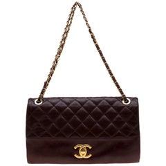Chanel Burgundy Quilted Leather 3 Bag Flap Shoulder Bag