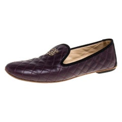 Chanel Burgundy Quilted Leather CC Smoking Slippers Size 38.5