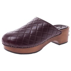 Chanel Burgundy Quilted Leather CC Wooden Platform Clogs Size 38