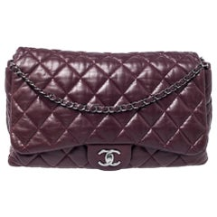 Chanel Burgundy Quilted Leather Maxi 3 Accordion Flap Bag