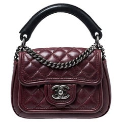 Chanel Burgundy Quilted Leather Mini Top Handle Flap Shoulder Bag