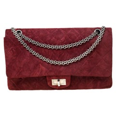 Chanel Burgundy Quilted Nubuck Leather Reissue 2.55 Classic 227 Flap Bag