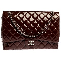 Chanel Burgundy Quilted Patent Leather Maxi Classic Single Flap Bag