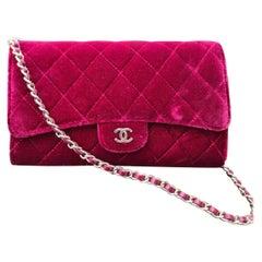 Chanel Burgundy Quilted Velvet Mini Classic Flap Bag