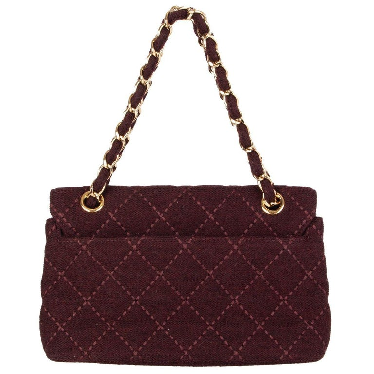 Black CHANEL burgundy quilted wool JERSEY CLASSIC FLAP Shoulder Bag For Sale
