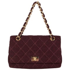 CHANEL burgundy quilted wool JERSEY CLASSIC FLAP Shoulder Bag