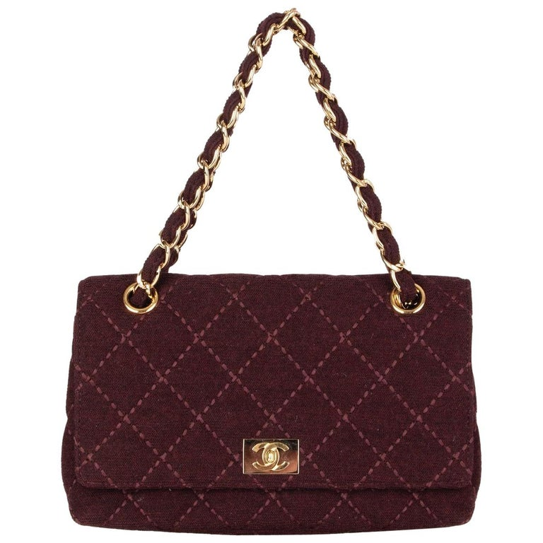 CHANEL burgundy quilted wool JERSEY CLASSIC FLAP Shoulder Bag For Sale
