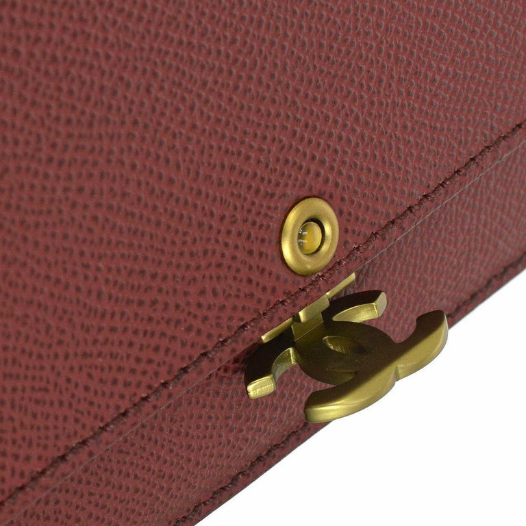 0df0f4194dffe8 Chanel Burgundy Red Leather Gold Wallet on Chain WOC Evening Shoulder Flap  Bag Caviar Leather Gold