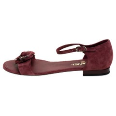 Chanel Burgundy Suede CC Camellia Ankle Strap Flat Sandals Size 41.5
