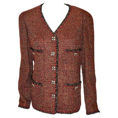 Chanel Burgundy Tweed Jacket With Black & Gold Lurex Thread Trim