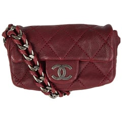Chanel burgundy washed Caviar leather MODERN CHAIN MINI FLAP Shoulder Bag