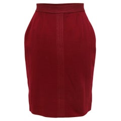 Chanel Burgundy Wool Knee-Length Skirt