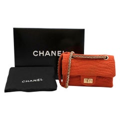 Chanel Burnt Orange Croc Embroidered Jersey Reissue 2.55 224 Bag