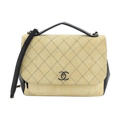 Chanel Business Affinity Flap Bag Quilted Suede Large