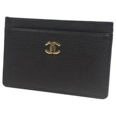 CHANEL business card case  coco mark Womens card case A11837 black x gold hardwa
