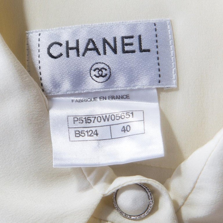 Chanel Butter Cream Floral Watercolor Print Button Front Sleeveless Blouse M For Sale 1