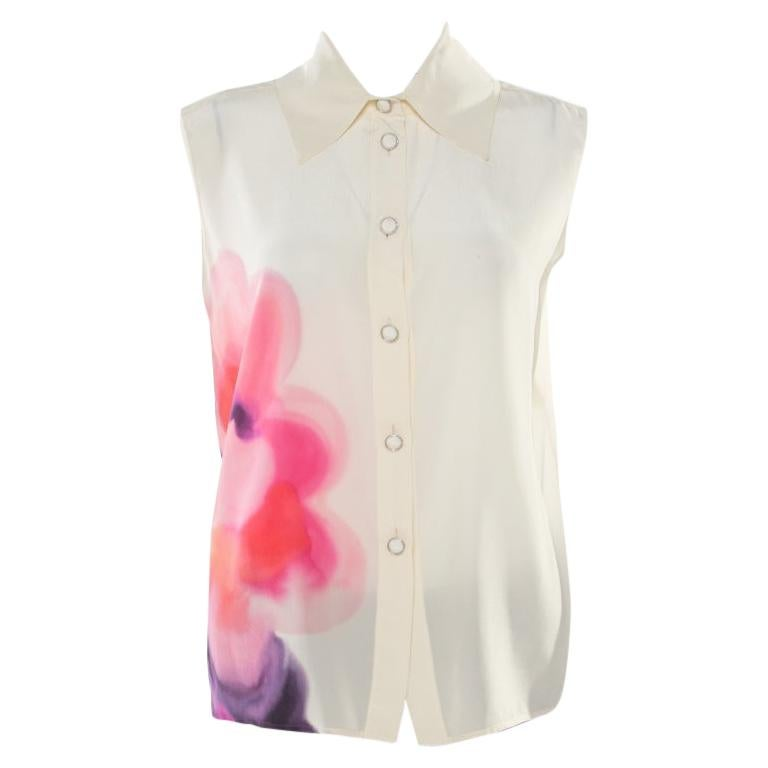Chanel Butter Cream Floral Watercolor Print Button Front Sleeveless Blouse M For Sale