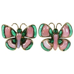 Chanel Butterfly Earclips of Poured Glass. Maison Gripoix