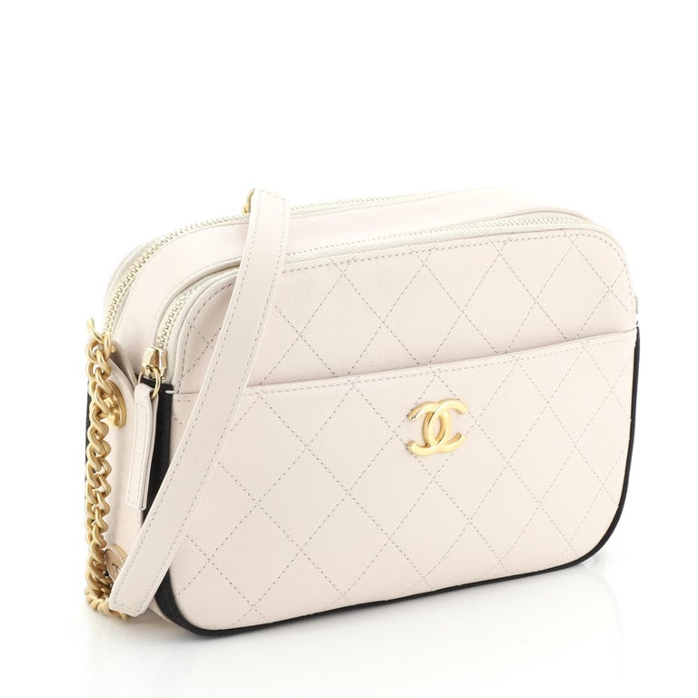 Chanel Button Up Camera Case Quilted Calfskin with Grosgrain Small In Good Condition For Sale In New York, NY