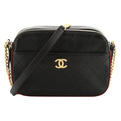 Chanel Button Up Camera Case Quilted Calfskin with Grosgrain Small