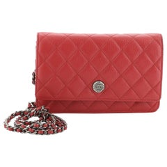 Chanel Button Wallet On Chain Quilted Goatskin