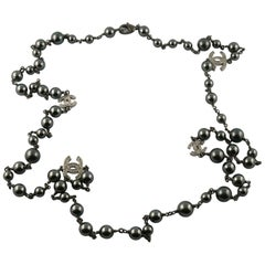 Chanel by Karl Lagerfeld 2018 Hematite Grey Pearl and Diamante CC Logos Necklace